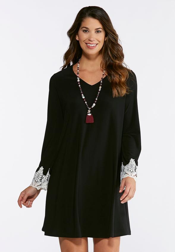 267ab9def2f57 Plus Size Crochet Trim Swing Dress A-line & Swing Cato Fashions
