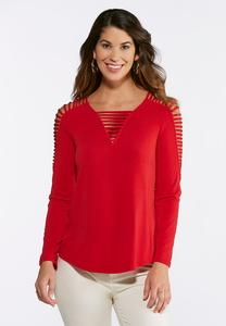 Plus Size Ladder Sleeve V- Neck Top