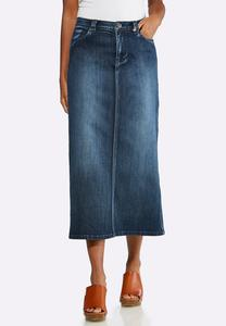 Plus Size Dark Denim Midi Skirt