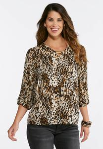 Leopard Pleated Sleeve Top