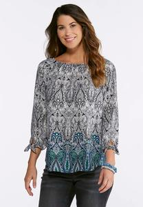 Plus Size Paisley Tie Sleeve Top