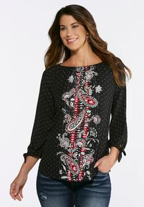 Plus Size Dotted Paisley Top