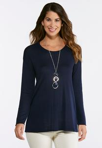 Seamed High-Low Sweater