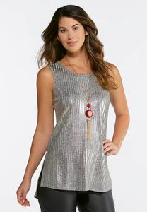 Plus Size Sparkling Ribbed Tunic Tank
