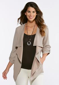 Plus Size Textured Waterfall Jacket