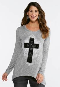 Plus Size Flocked Cross Hacci Top