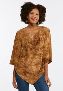 Plus Size Scroll Stitch Hardware Top