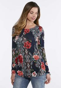 Plus Size Floral Pullover Top