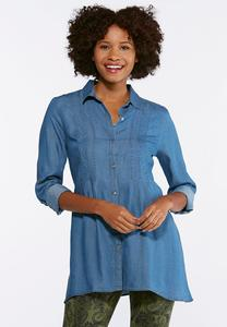 Plus Size Chambray Sharkbite Tunic