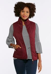 Plus Size Quilted Wine Puffer Vest