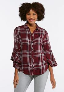 Plus Size Wine Plaid Bell Sleeve Shirt