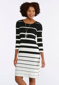Plus Size Contrast Stripe Sweater Dress