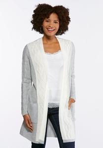 Plus Size Cable Knit Colorblock Cardigan