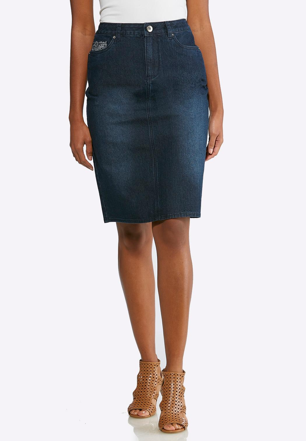 Embellished Pocket Denim Skirt