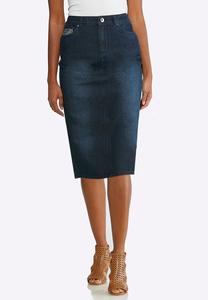 Plus Size Embellished Pocket Denim Skirt