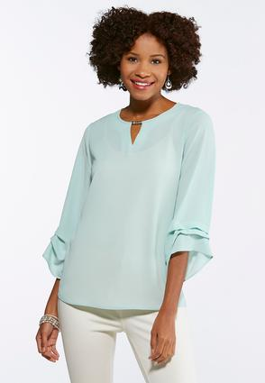 Plus Size Crepe Ruffled Sleeve Top
