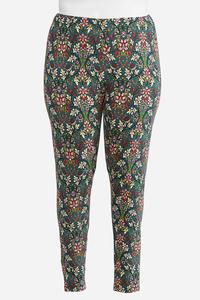 Plus Size Vine Floral Leggings