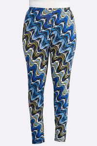 Plus Size Blue Marble Leggings