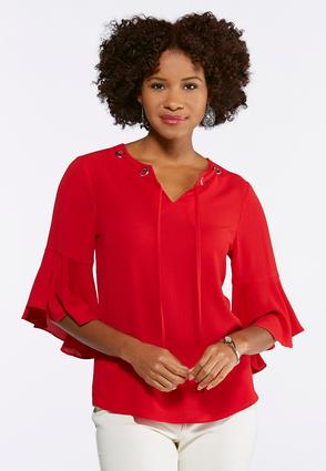 Plus Size Crepe Flutter Sleeve Top
