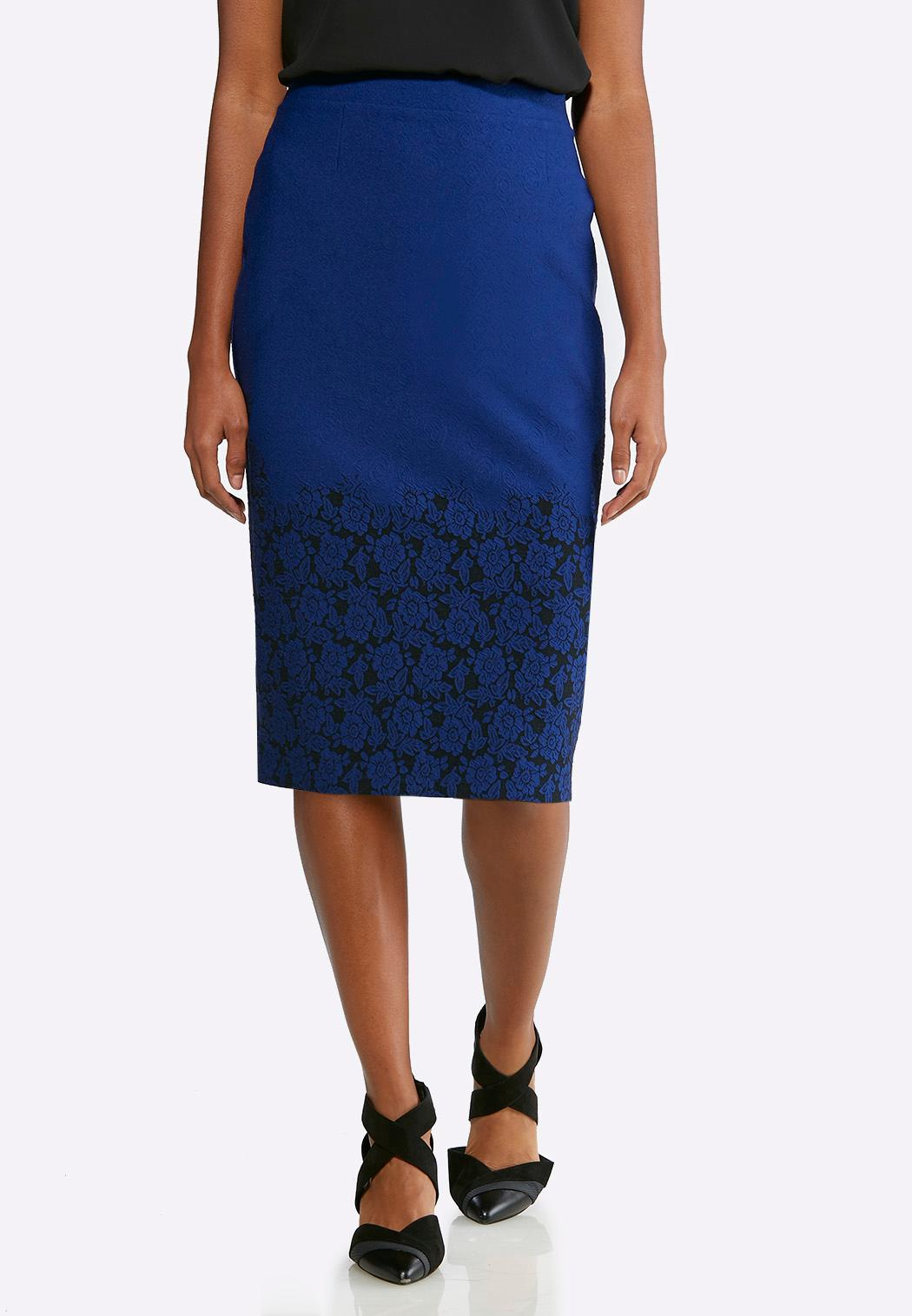 b9d4e74cfdb Plus Size Jacquard Floral Pencil Skirt Below The Knee Cato Fashions