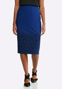Plus Size Jacquard Floral Pencil Skirt