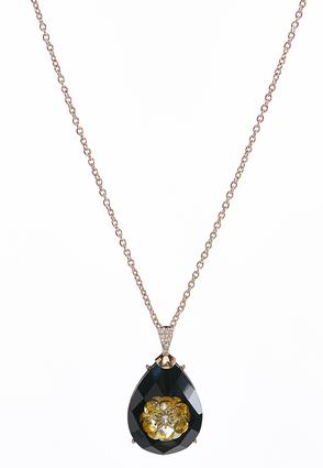 Black Stone Infused Flower Pendant Necklace