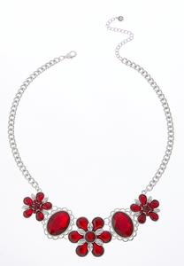 Flower Bead Bib Necklace