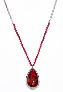 Tear Shaped Red Stone Pendant Necklace