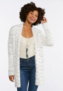 Plus Size Eyelash Sweater Cardigan