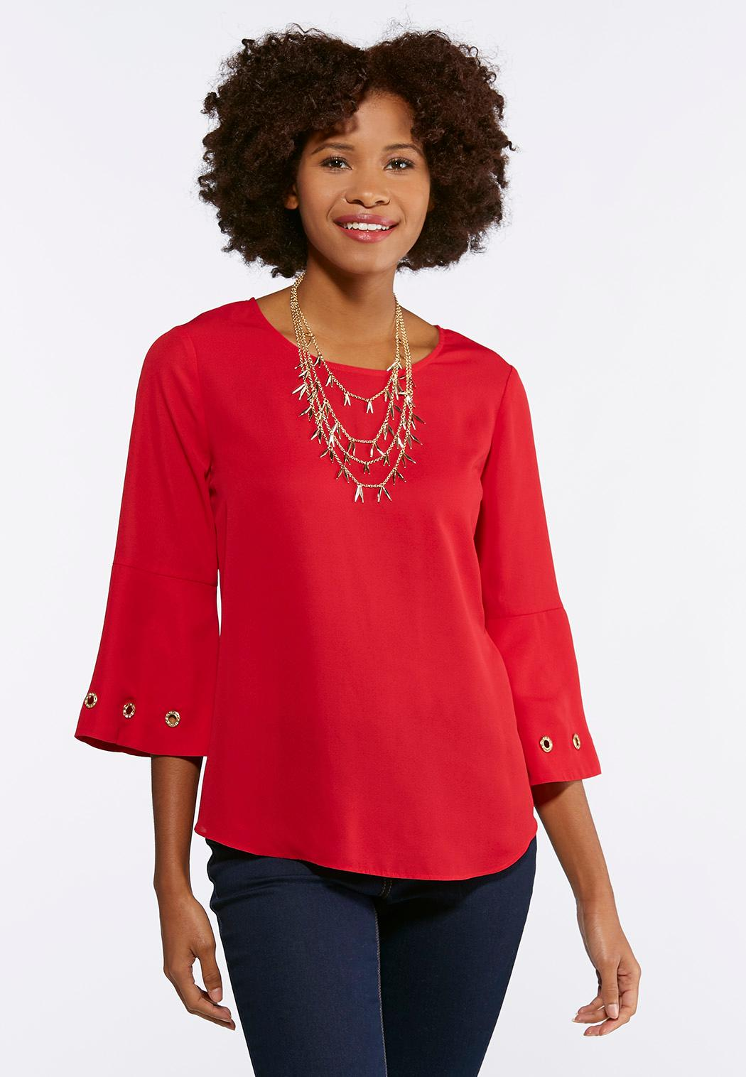 Plus Size Grommet Embellished Bell Sleeve Top Shirts Blouses Cato