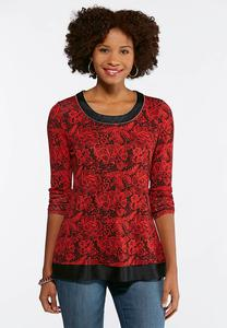 Embellished Red Rose Top