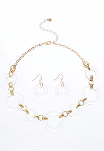 Lucite Ring Necklace Set