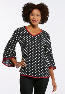 Polka Dot Bell Sleeve Top
