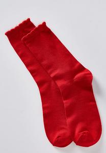 Scallop Tipped Solid Socks
