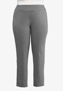 Plus Size Houndstooth Pull-On Pants