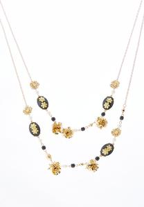 Black Stone Flower Layered Necklace
