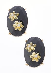 Gold Flower Stone Button Earrings