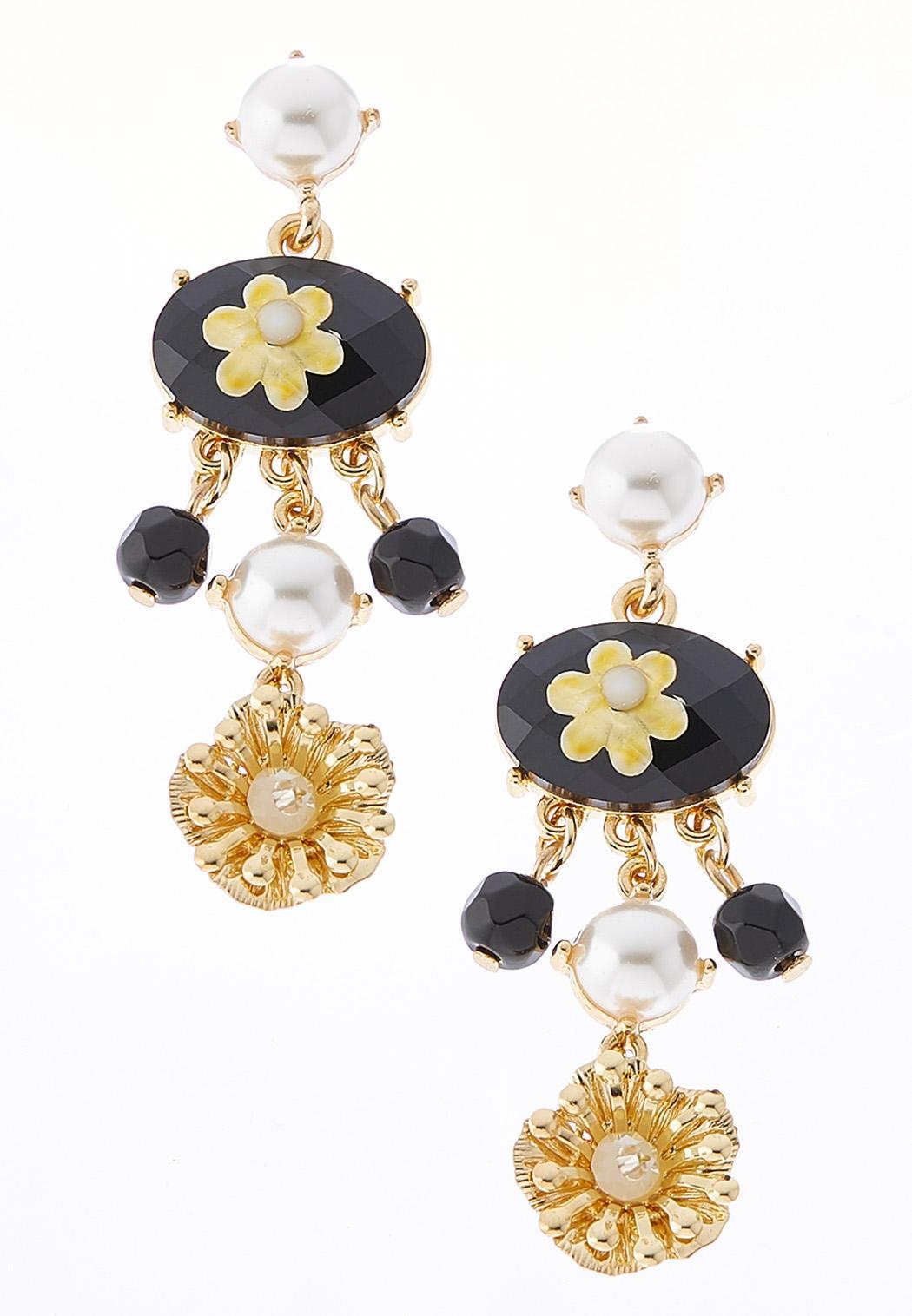 Black Stone Flower Dangle Earrings