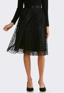 Plus Size Dotted Tulle Party Skirt