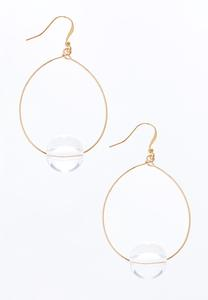 Lucite Gem Wire Hoop Earrings