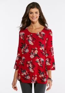 Plus Size Floral Flounced Sleeve Tunic