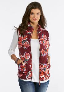 Quilted Floral Puffer Vest