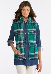 Plus Size Green Plaid Puff Vest