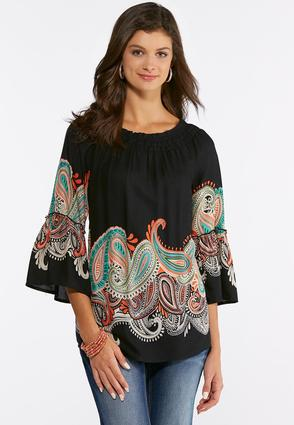 Paisley Bell Sleeve Top