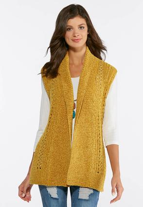 Plus Size Gold Chenille Sweater Vest