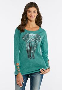 Plus Size Elephant Lattice Sleeve Top