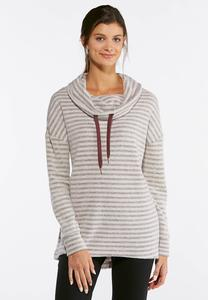 Stripe Fleece Cowl Neck Top