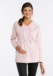 Plus Size Pink Fleece Hooded Sweatshirt