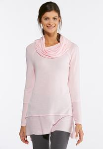 Plus Size Pink Cowl Neck Tunic