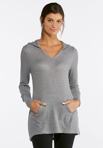Plus Size Gray Waffle Hoodie